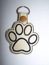 Handmade Paw Print Embroidered Key Fob, Zipper Pull, Snap Tab Key Chain