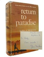 James A. Michener RETURN TO PARADISE Signed 1st 1st Edition Early Printing