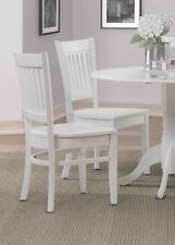 SET OF 4 DINING KITCHEN SIDE CHAIRS w/ WOOD SEAT IN WHITE FINISH