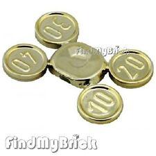 U019A Lego Coins Set on Sprue (10, 20, 30, 40) Chrome Gold 10210 10217 10193 NEW