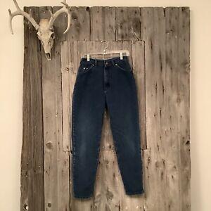 Vintage Lee Riveted Dark Wash Mom Jeans Size 12m USA Made Tapered Leg