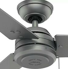 """Hunter Damp Rated 52"""" Matte Silver Black Outdoor Patio Ceiling Fan Industrial"""