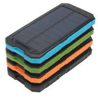 DIY Waterproof 500000mAh Power Bank 2 USB Solar Charger Case + LED No Battery TO