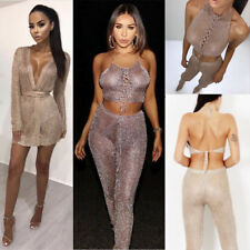 Ladies Knitted Metallic Sparkly Evening Dress Lace Top Party Bodycon Wrap Cardy