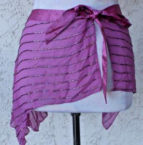 Bebe Purple Beaded Bathing Suit Wrap One Size Sash Caplet Bolero Shoulders o/s