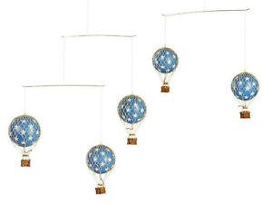 Hot Air Balloon Mobile Blue w/ White Stars Hanging Nursery Home Ceiling Decor