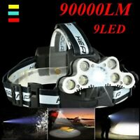 Waterproof 90000LM 9X T6 LED Headlamp Headlight Flashlight Head Torch 18650 Camp