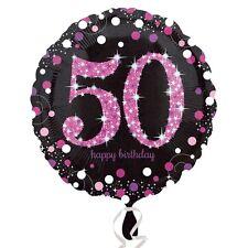 "18"" Round PINK 50TH BIRTHDAY Foil Helium BALLOON Party Celebration Decoration 50"