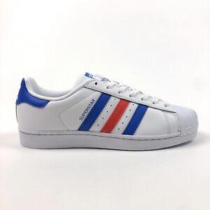 Adidas Originals Superstar Mens 8.5 White Blue Red Low Top Shoes Sneakers BB2246