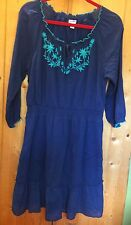 OLD NAVY Blue Gauze Lined Peasant Boho Ruffle Dress Floral Embroidery Womens' M