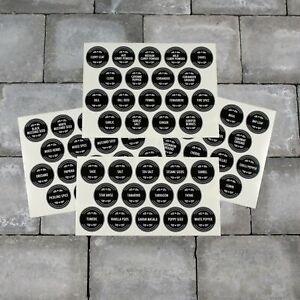 68 x Spice / Herb Storage Jar Labels Stickers Decals - 40mm