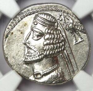 Parthian Kingdom Phraates IV AR Drachm Silver Coin 38-2 BC - Certified NGC AU