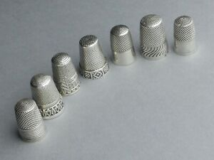 Lot of 7 Thimbles Silver. French Antique, Sterling, Sewing. Art Nouveau, Deco.