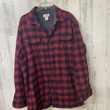 LL Bean Fleece Lined Long Sleeve Button Down Plaid Flannel Men's Large Tall