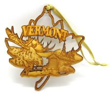 Vermont Wooden Etched Christmas Ornament with Ribbon Moose Covered Bridges