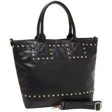 Diophy Black Faux Leather Rhinestone Studded Shopper Tote with Strap