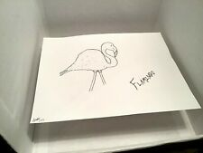 ART FLAMINGO SKETCH PROTOTYPE FOR PAINTING BY: JORDOK (PEN ON PAPER) 1 OF 3