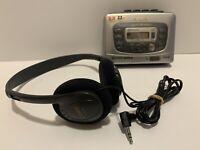 AIWA Slim HS-TX476 Stereo Radio Cassette Player Walkman Super Bass W/Headphones!