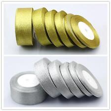 25yards Quality gold/silver organza Glitter ribbons 6mm 10mm 15mm 20mm 25mm 38mm