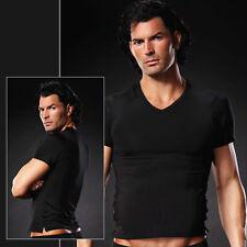 V Neck Tee Shirt Unterhemd Microfaser Uni Schwarz in S M S/M Blue Line