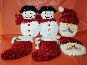 6 Shimmer Garland Foil Santa, Snowman Stocking Christmas Holiday Wall Hanging