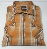 Prana Mens Organic Cotton Shirt Size X-LRG Snap Buttons Plaid Beige Tan Brown XL