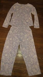 L L Bean Purple Snowflake 2 Piece Fleece Pajama Set Size M Petite