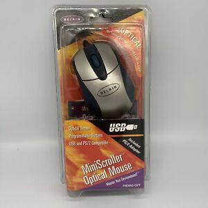 New BELKIN Mini Scroller Optical Mouse Model F8E882-OPT - USB and PS2 NIP
