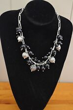 Black Agate Beads with Silver Charms Necklace