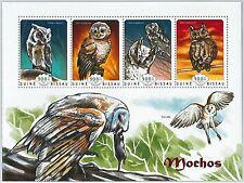 GUINEA BISSAU - ERROR, 2014 MISSPERF SHEET: OWLS, BIRDS, FAUNA