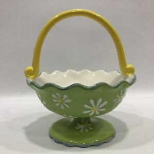 Pier 1 Imports Ceramic Basket Daisies Footed Spring Unique Scalloped Rim & Base