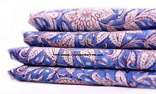 10 Yard Indian Hand Block Print Pure Cotton Blue Fabric Sanganeri Running Fabric