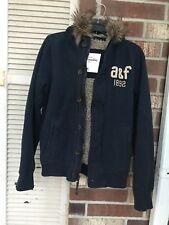 Abercrombie Kids Boys Sherpa Lined Hoodie Coat Jacket fur non-detachable XL Navy