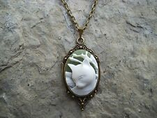 CAT - KITTY - KITTEN CAMEO PENDANT NECKLACE!!! SET IN BRONZE!!! CHRISTMAS!!