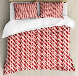 Candy Cane Duvet Cover Set Twin Queen King Sizes with Pillow Shams Bedding
