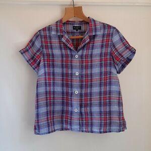 Stunning Margaret Howell Blue Pink Check Linen Short Sleeve Shirt Blouse 10 S
