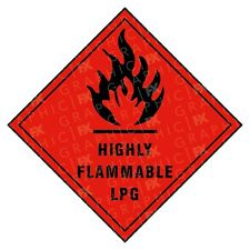 Highly Flammable LPG Hazard Warning Labels Stickers COSHH PPE
