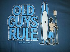 """OLD GUYS RULE"""" SUP GUY """" SURF STAND UP SURFBOARD LONGBOARD FIN BEACH S/S SIZE L"""