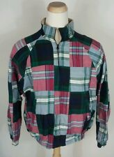 Vtg 90s Nautica Madras Patchwork Jacket Coat Reversible Large Khaki Plaid Sailin