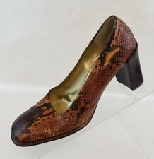 Bruno Magli Couture Vintage Block Pumps Womens Brown Snake Skin Shoes Sz 7.5AA