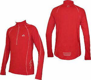 More Mile Alaska Mens Running Top Red Thermal Half Zip Long Sleeve XS XL