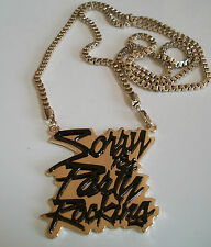 Men's Black/Gold Finish Fashion Sorry For Party Rocking Dressy pendant & chain
