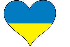 6 x Ucraina / Ucraina Bandiera in forma di cuore-l'Europa Adesivo Vinile 10cm x 10cm