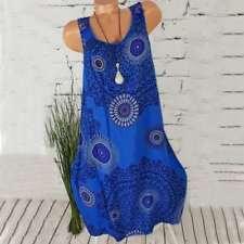 Womens Boho Sundress Midi Length Summer Evening Cocktail Party Beach Dress Size