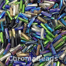 50g glass Twisted bugle beads - Mixed - approx 6mm (incl Silver-lined, Metallic)