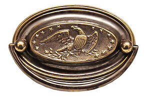 """3.25"""" Solid Brass Oval Handle (Eagle and Stars) 9533A/A"""