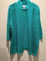 Avenue 3/4 Sleeved Open Front Crocheted Cardigan  Size 18/20