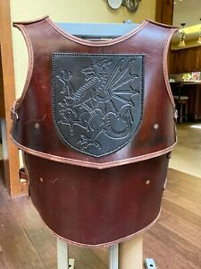 Medieval Knights Leather Breast Plate Cuirass Armor with Dragon