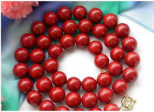 "Beautiful Huge 34"" 14mm Nature Round Red Coral Bead Necklace + Earring Set"