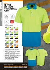 NEW JB's Wear 6HVNC - Adults Hi Vis Non Cuff Traditional Polo